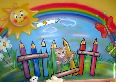 Nástěnná malba kotě a duha