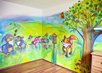 Malba na stěnu liška a louka