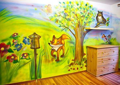 Malba na stěnu strom a louka